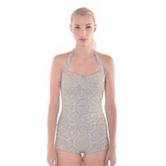 Leaf Grey Frame Boyleg Halter Swimsuit