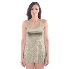 Leaf Grey Frame Skater Dress Swimsuit