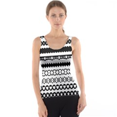 Love Heart Triangle Circle Black White Tank Top