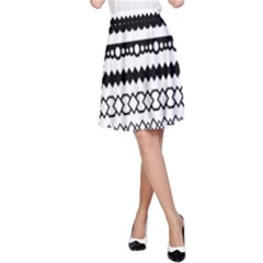 Love Heart Triangle Circle Black White A-Line Skirt