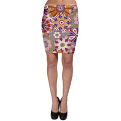 Flower Floral Sunflower Rainbow Frame Bodycon Skirt