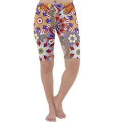 Flower Floral Sunflower Rainbow Frame Cropped Leggings
