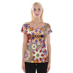 Flower Floral Sunflower Rainbow Frame Women s Cap Sleeve Top