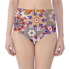 Flower Floral Sunflower Rainbow Frame High-Waist Bikini Bottoms