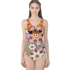 Flower Floral Sunflower Rainbow Frame One Piece Swimsuit