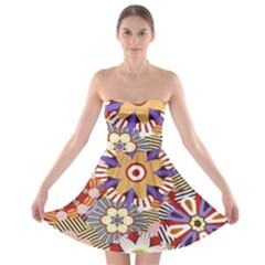 Flower Floral Sunflower Rainbow Frame Strapless Bra Top Dress