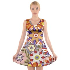 Flower Floral Sunflower Rainbow Frame V-Neck Sleeveless Skater Dress