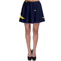 Moon Dark Night Blue Sky Full Stars Light Yellow Skater Skirt