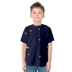 Moon Dark Night Blue Sky Full Stars Light Yellow Kids  Cotton Tee