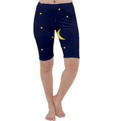 Moon Dark Night Blue Sky Full Stars Light Yellow Cropped Leggings