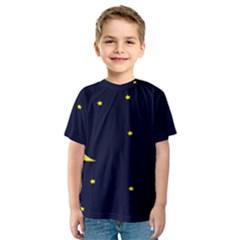 Moon Dark Night Blue Sky Full Stars Light Yellow Kids  Sport Mesh Tee