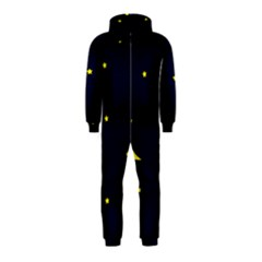 Moon Dark Night Blue Sky Full Stars Light Yellow Hooded Jumpsuit (Kids)