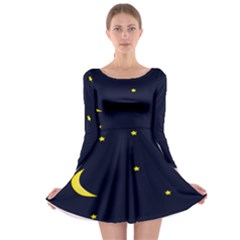 Moon Dark Night Blue Sky Full Stars Light Yellow Long Sleeve Skater Dress