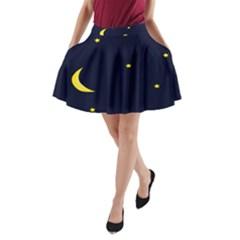 Moon Dark Night Blue Sky Full Stars Light Yellow A-Line Pocket Skirt