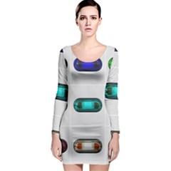 9 Power Button Long Sleeve Bodycon Dress