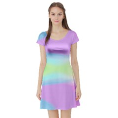 Abstract Background Colorful Short Sleeve Skater Dress