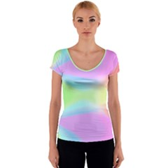 Abstract Background Colorful Women s V-Neck Cap Sleeve Top