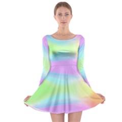Abstract Background Colorful Long Sleeve Skater Dress