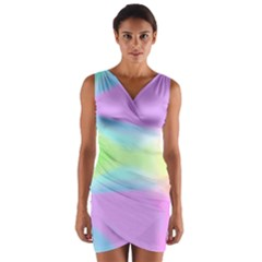 Abstract Background Colorful Wrap Front Bodycon Dress
