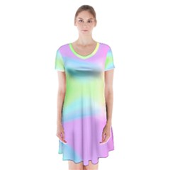 Abstract Background Colorful Short Sleeve V-neck Flare Dress