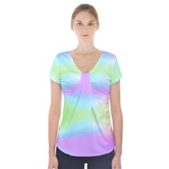Abstract Background Colorful Short Sleeve Front Detail Top