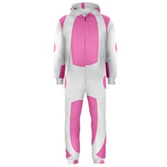Love Heart Valentine Pink White Sweet Hooded Jumpsuit (Men)