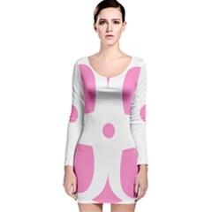 Love Heart Valentine Pink White Sweet Long Sleeve Velvet Bodycon Dress