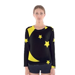 Moon Star Light Black Night Yellow Women s Long Sleeve Tee