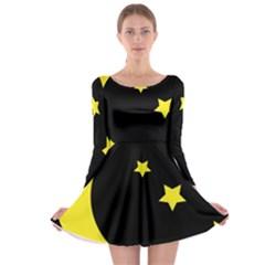 Moon Star Light Black Night Yellow Long Sleeve Skater Dress