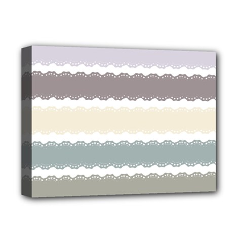 Muted Lace Ribbon Original Grey Purple Pink Wave Deluxe Canvas 16  x 12