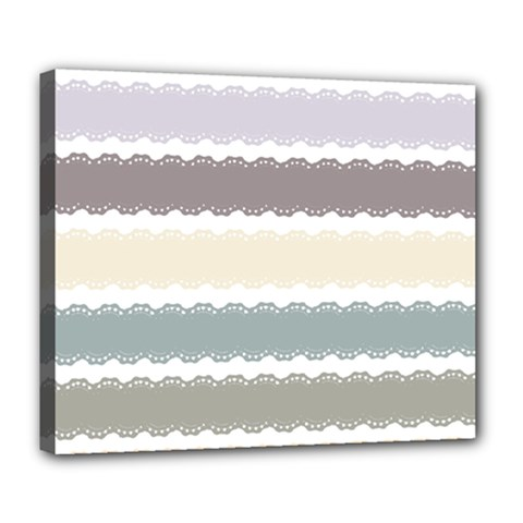 Muted Lace Ribbon Original Grey Purple Pink Wave Deluxe Canvas 24  x 20