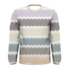Muted Lace Ribbon Original Grey Purple Pink Wave Men s Long Sleeve Tee