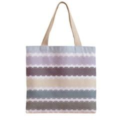 Muted Lace Ribbon Original Grey Purple Pink Wave Zipper Grocery Tote Bag