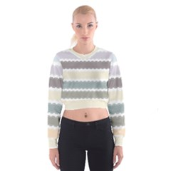 Muted Lace Ribbon Original Grey Purple Pink Wave Women s Cropped Sweatshirt