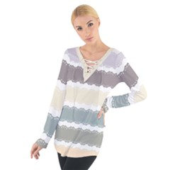Muted Lace Ribbon Original Grey Purple Pink Wave Women s Tie Up Tee