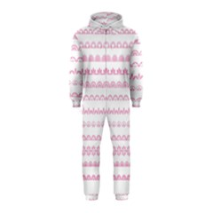 Pink Lace Borders Pink Floral Flower Love Heart Hooded Jumpsuit (Kids)