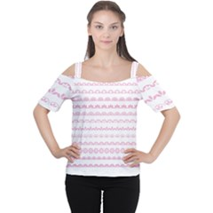 Pink Lace Borders Pink Floral Flower Love Heart Women s Cutout Shoulder Tee