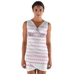 Pink Lace Borders Pink Floral Flower Love Heart Wrap Front Bodycon Dress