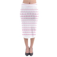 Pink Lace Borders Pink Floral Flower Love Heart Midi Pencil Skirt