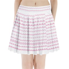Pink Lace Borders Pink Floral Flower Love Heart Pleated Mini Skirt