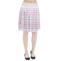 Pink Lace Borders Pink Floral Flower Love Heart Pleated Skirt