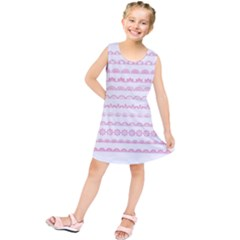 Pink Lace Borders Pink Floral Flower Love Heart Kids  Tunic Dress