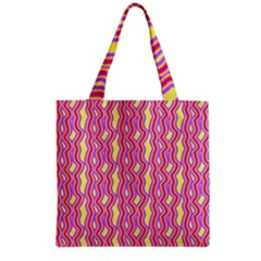 Pink Yelllow Line Light Purple Vertical Grocery Tote Bag
