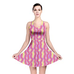 Pink Yelllow Line Light Purple Vertical Reversible Skater Dress