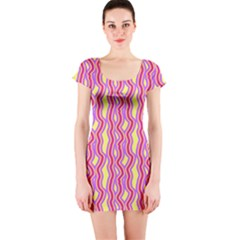 Pink Yelllow Line Light Purple Vertical Short Sleeve Bodycon Dress