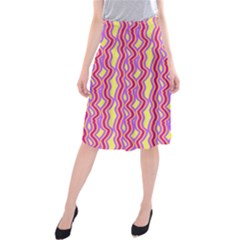Pink Yelllow Line Light Purple Vertical Midi Beach Skirt