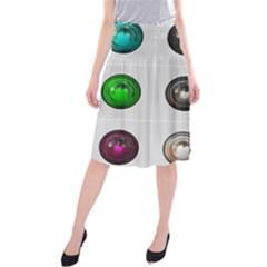 9 Power Buttons Midi Beach Skirt