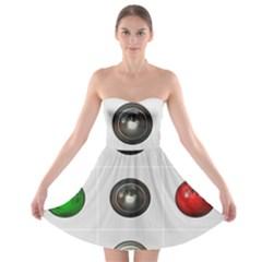 9 Power Buttons Strapless Bra Top Dress