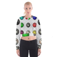 9 Power Buttons Women s Cropped Sweatshirt