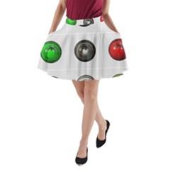 9 Power Buttons A-Line Pocket Skirt